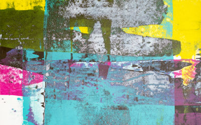 Residue Painting: Teal & Yellow